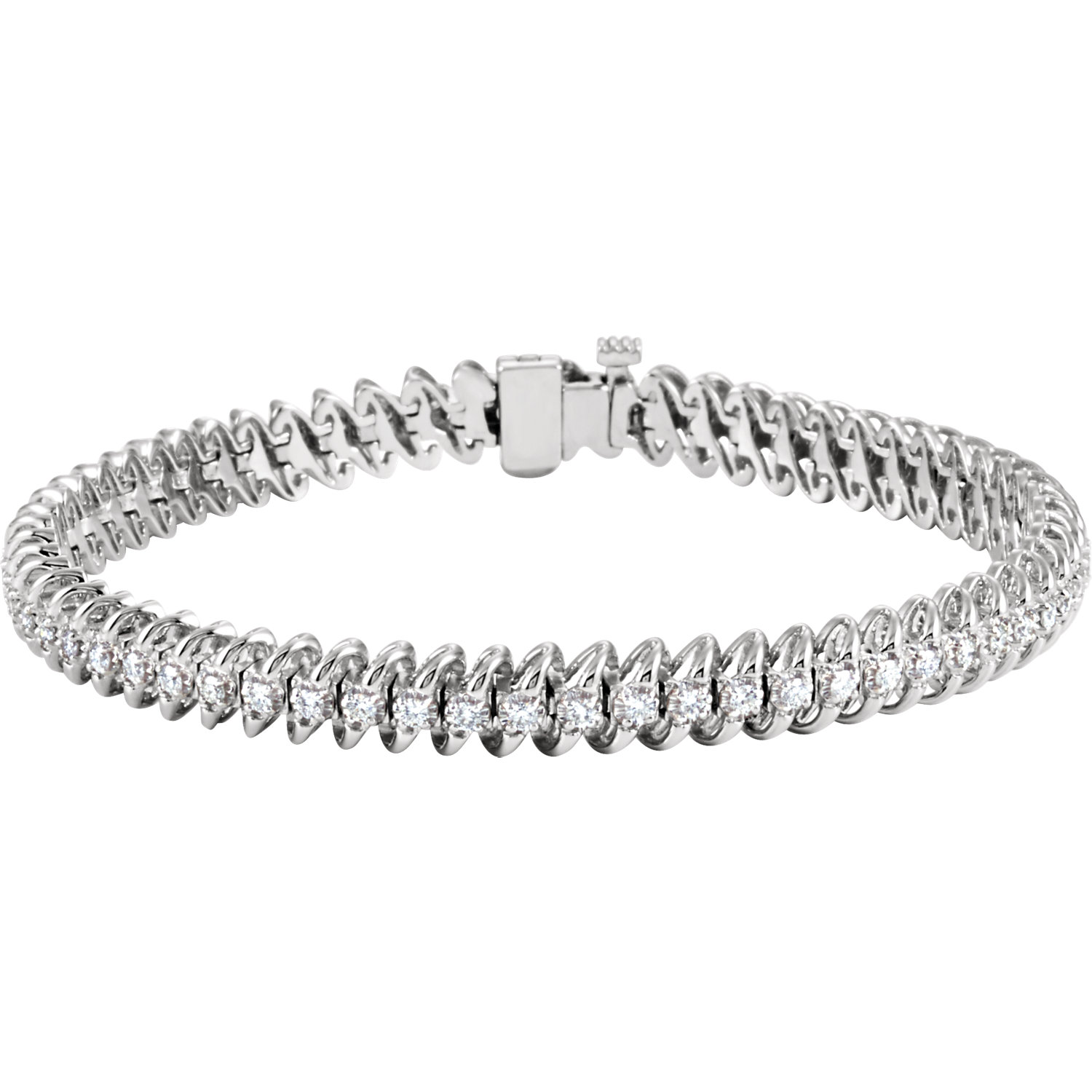 "14K White 1 1/4 CTW Diamond Line 7.25"" Bracelet"