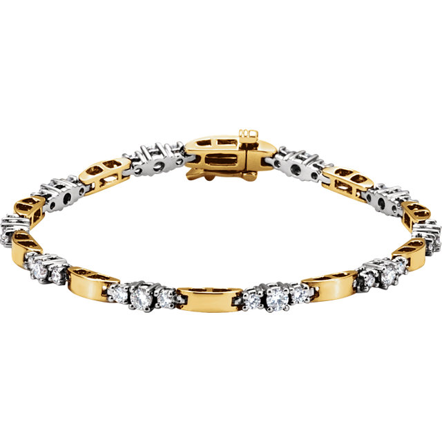 14K Yellow & White 1 7/8 CTW Diamond Line Bracelet