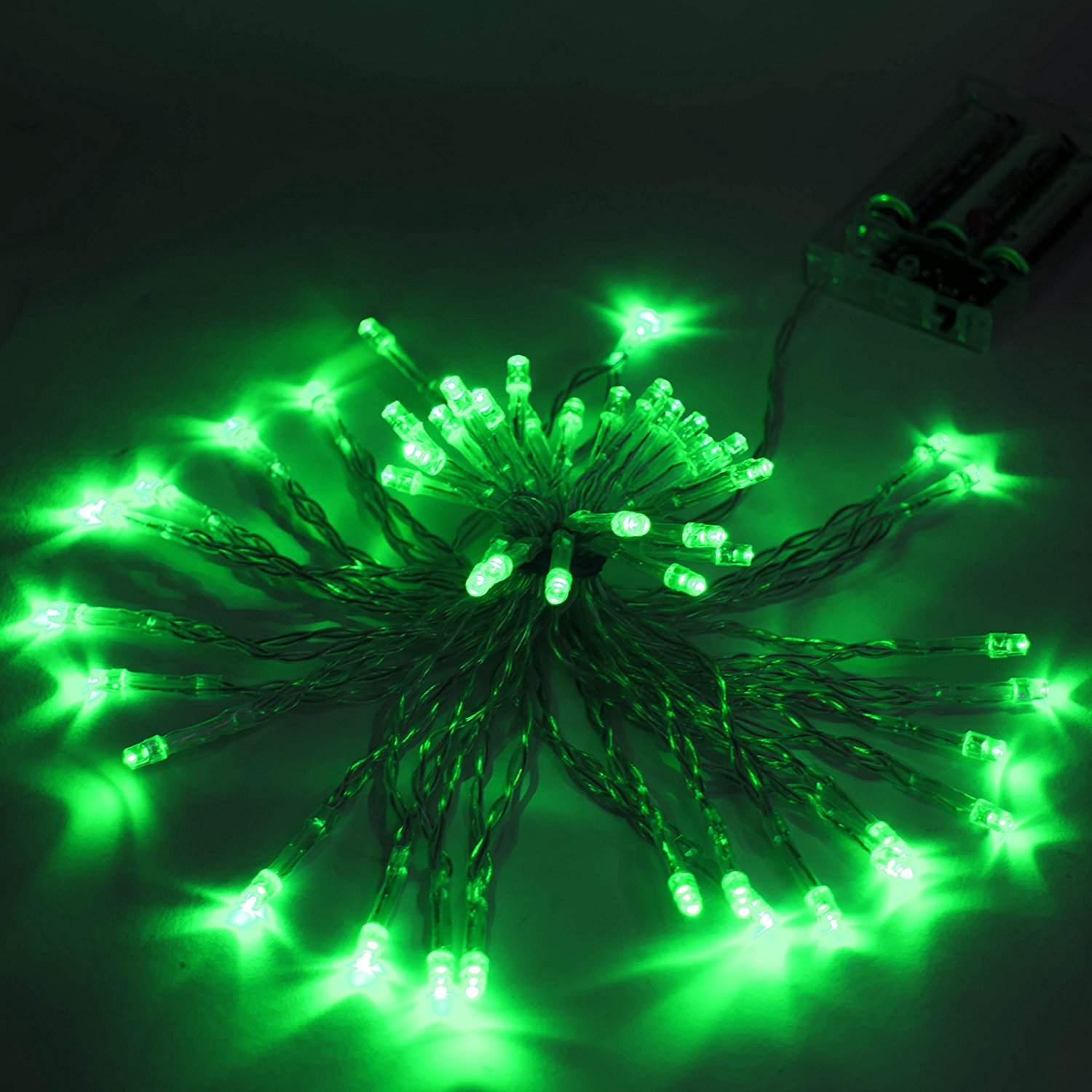40 LED 13 Feet Battery Operated String Christmas Lights Green Color, Lot of 5