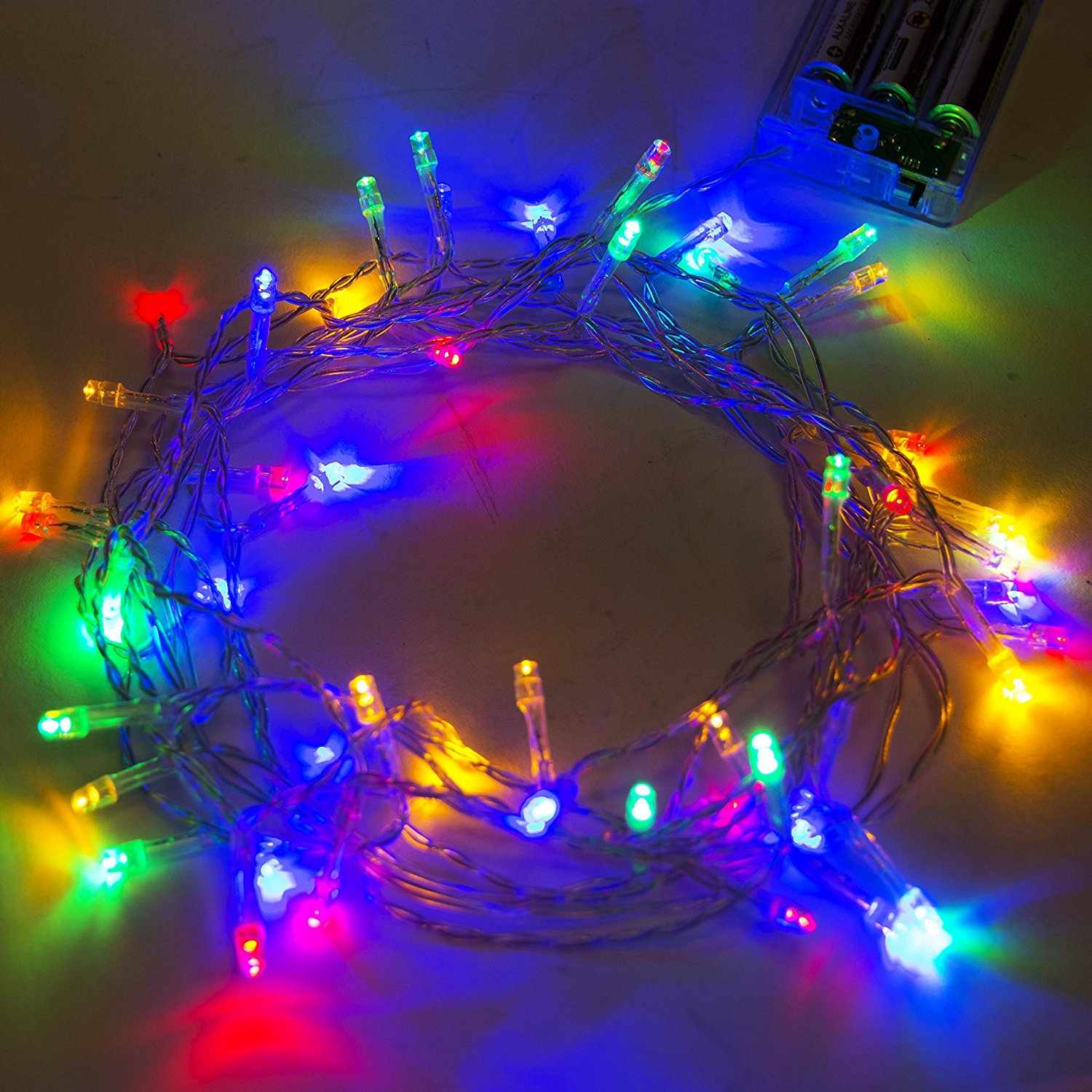 40 LED 13 Feet Battery Christmas Lights Multicolor Color, Lot of 5
