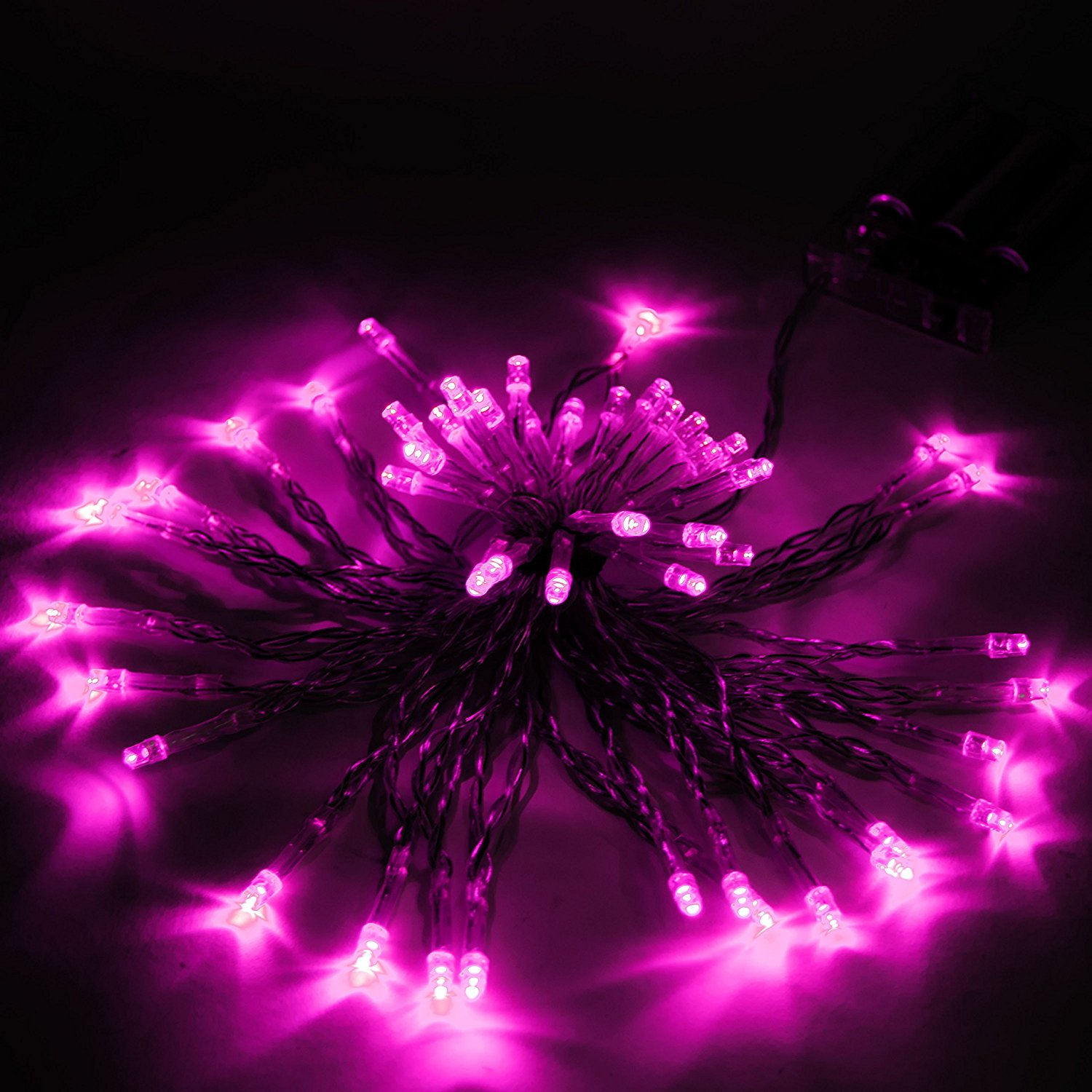 40 LED 13 Feet Battery Christmas Lights Pink Color, Lot of 5