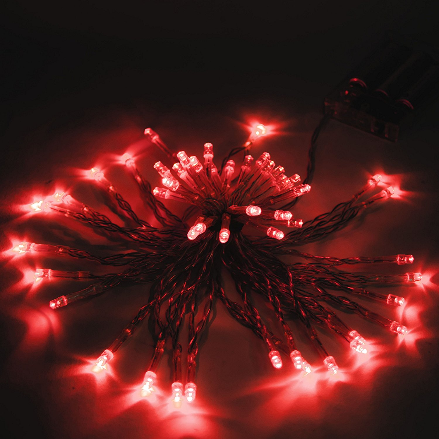 50 LED 19.5 Feet Battery Christmas Lights Red Color, Lot of 5
