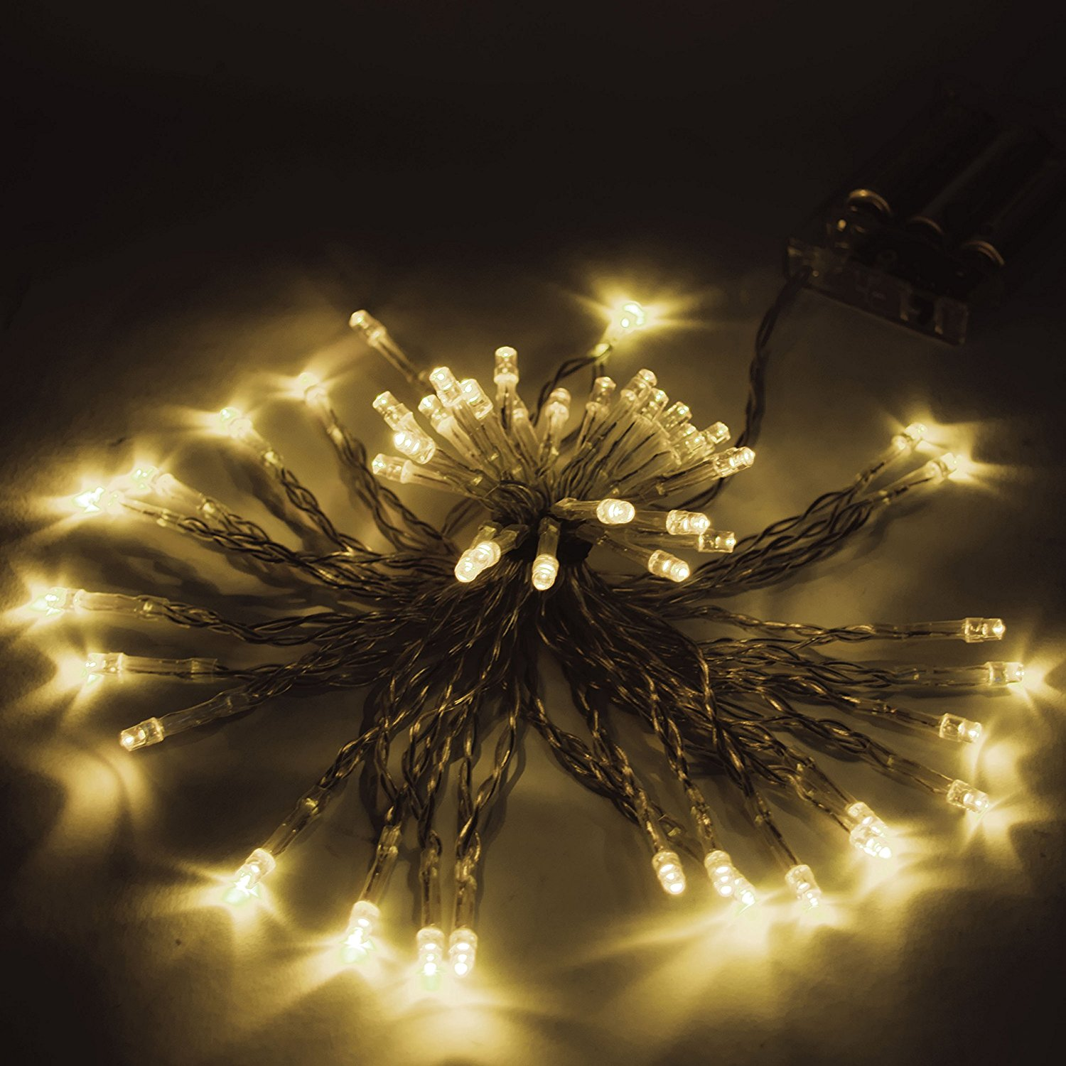 40 LED 13 Feet Battery Operated String Lights Warm White Color