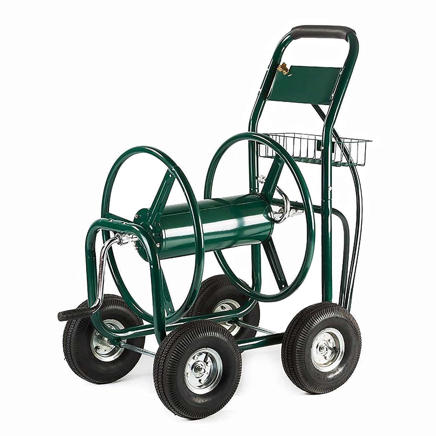 Heavy Duty Hose Reel Cart 4 Wheel 400 Foot, Green