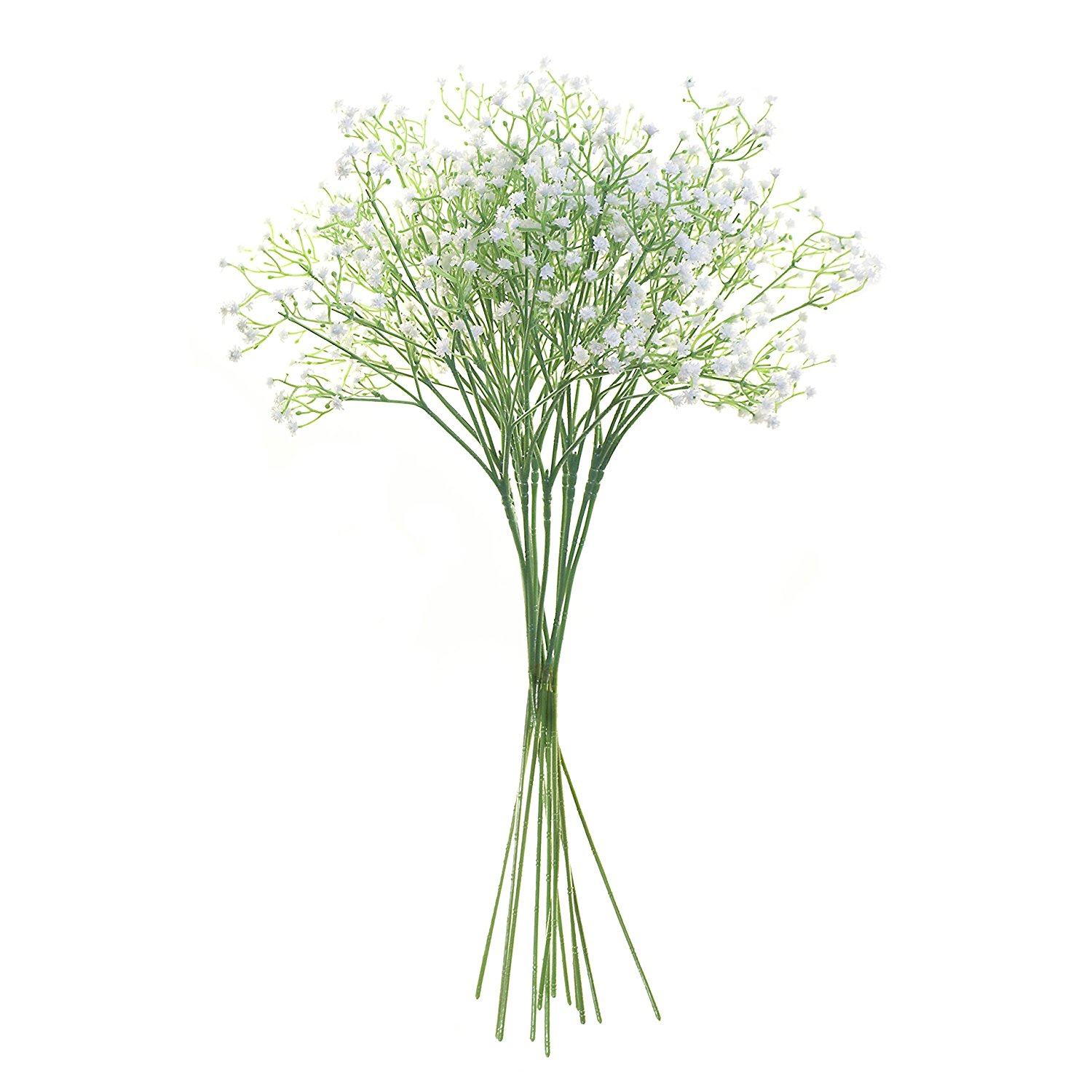 Artificial White Baby Breath Gypsophila Flower for Home Decor, Lot of 10
