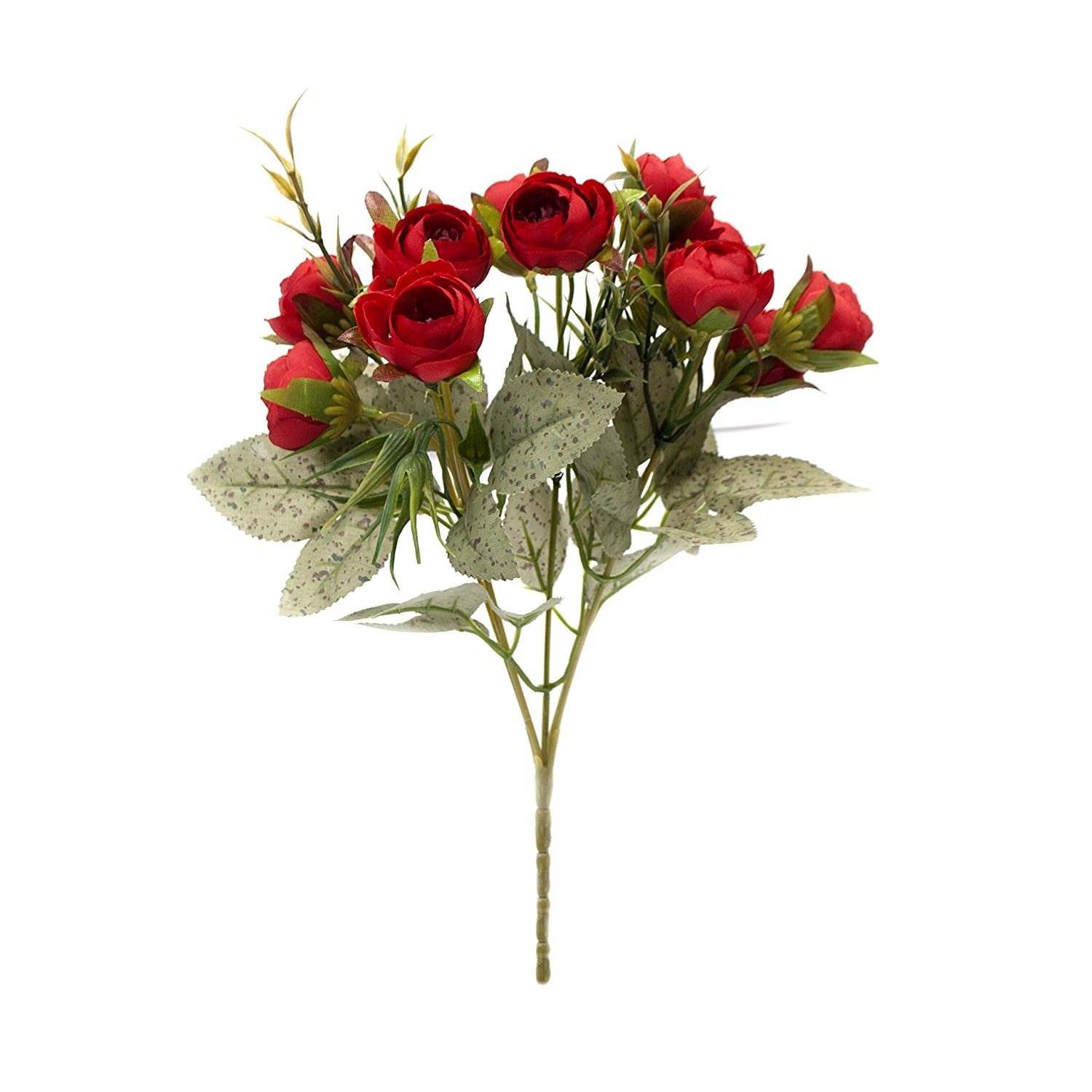 Artificial 12 Inches Long Silk Flower Roses Bouquet, Red Color