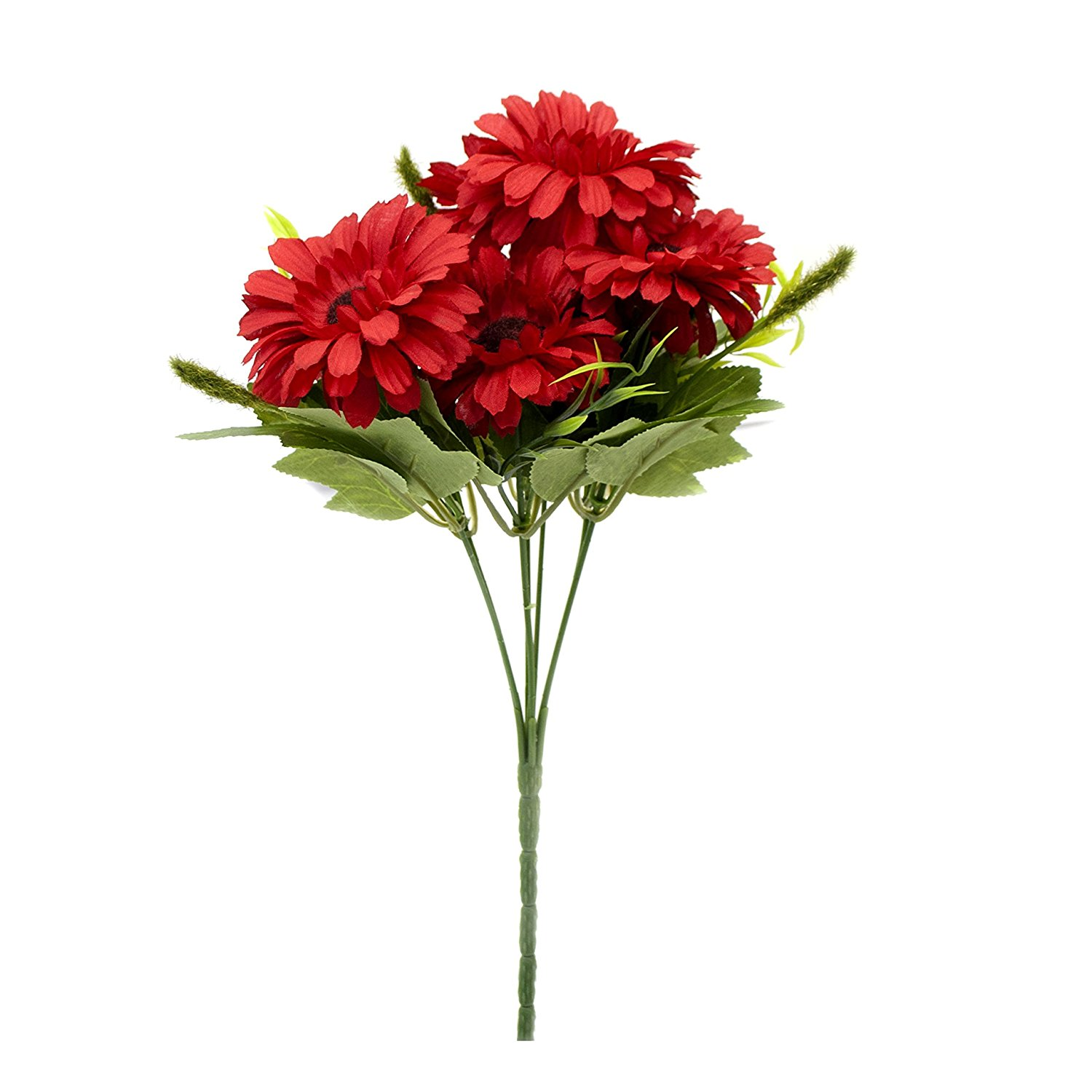 Artificial 11 Inches Long 7 Heads Silk Flower Gerberas Bouquet, Red Color