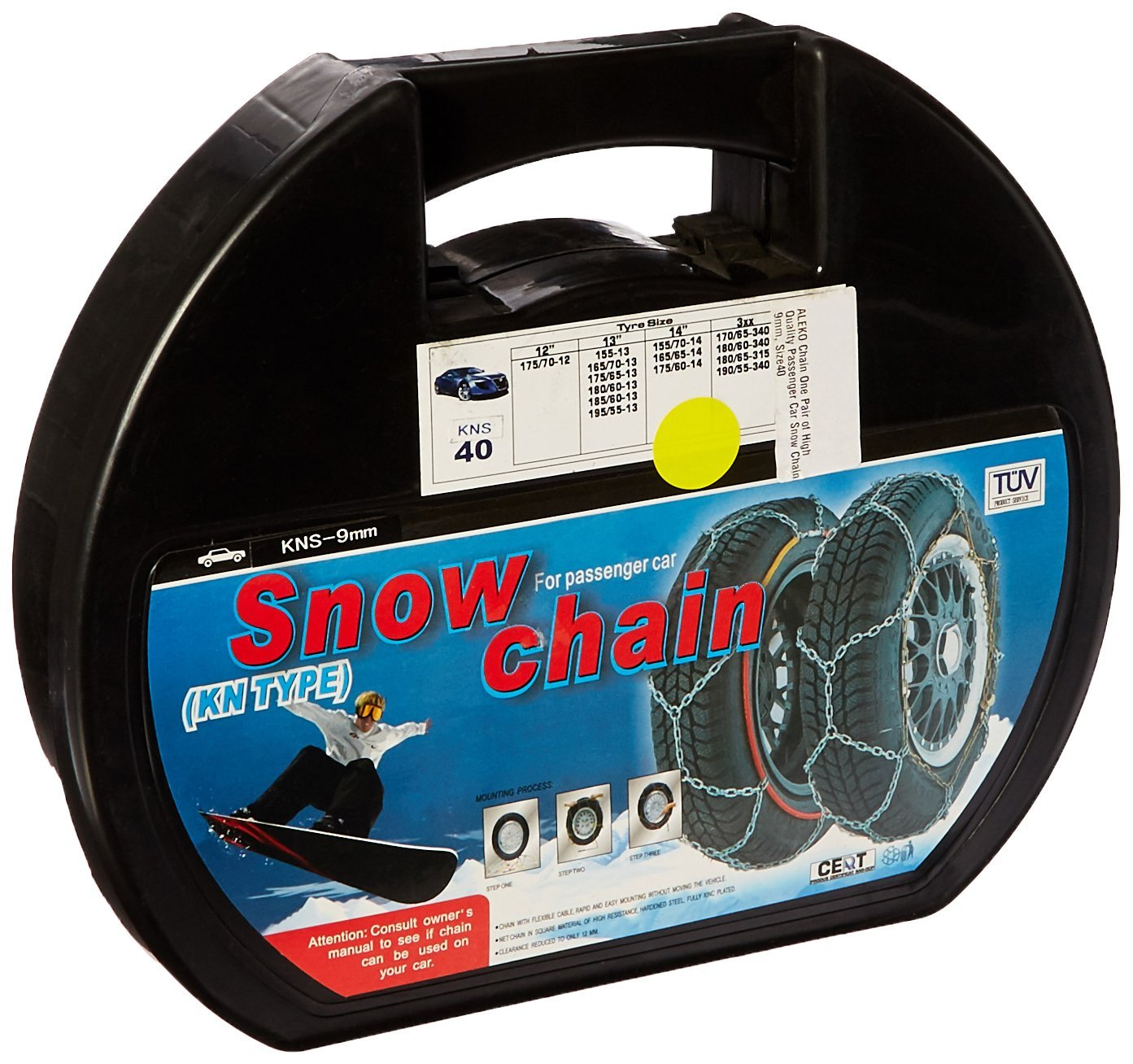 Size 40 Pair of Passenger Car Snow Chains-9mm