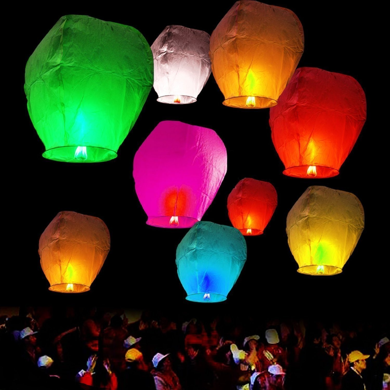 50 Pack of Sky Lanterns Chinese Flying Wish Lantern Lamp