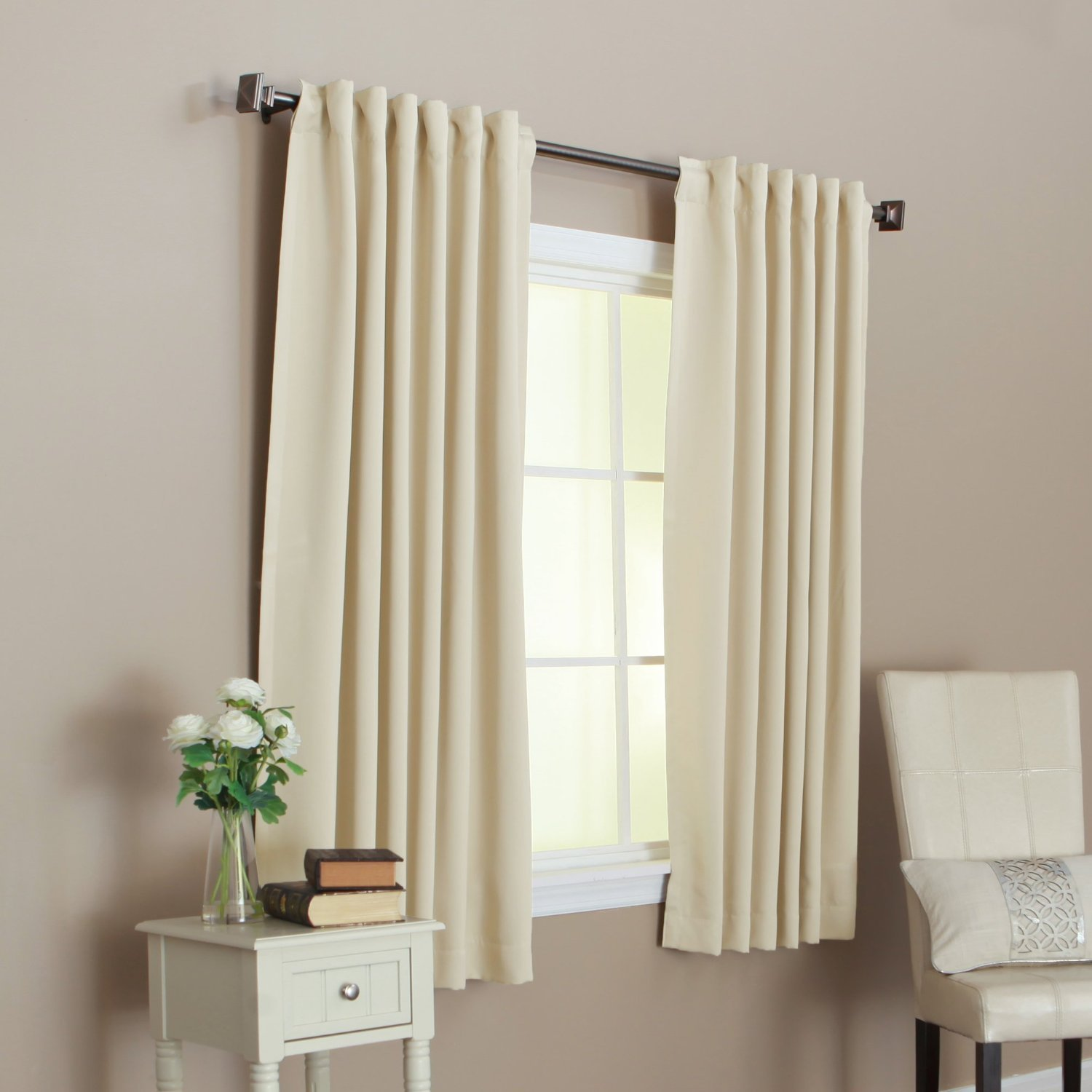 Beige Color 52 x 63 Solid Thermal Insulated Blackout Curtain