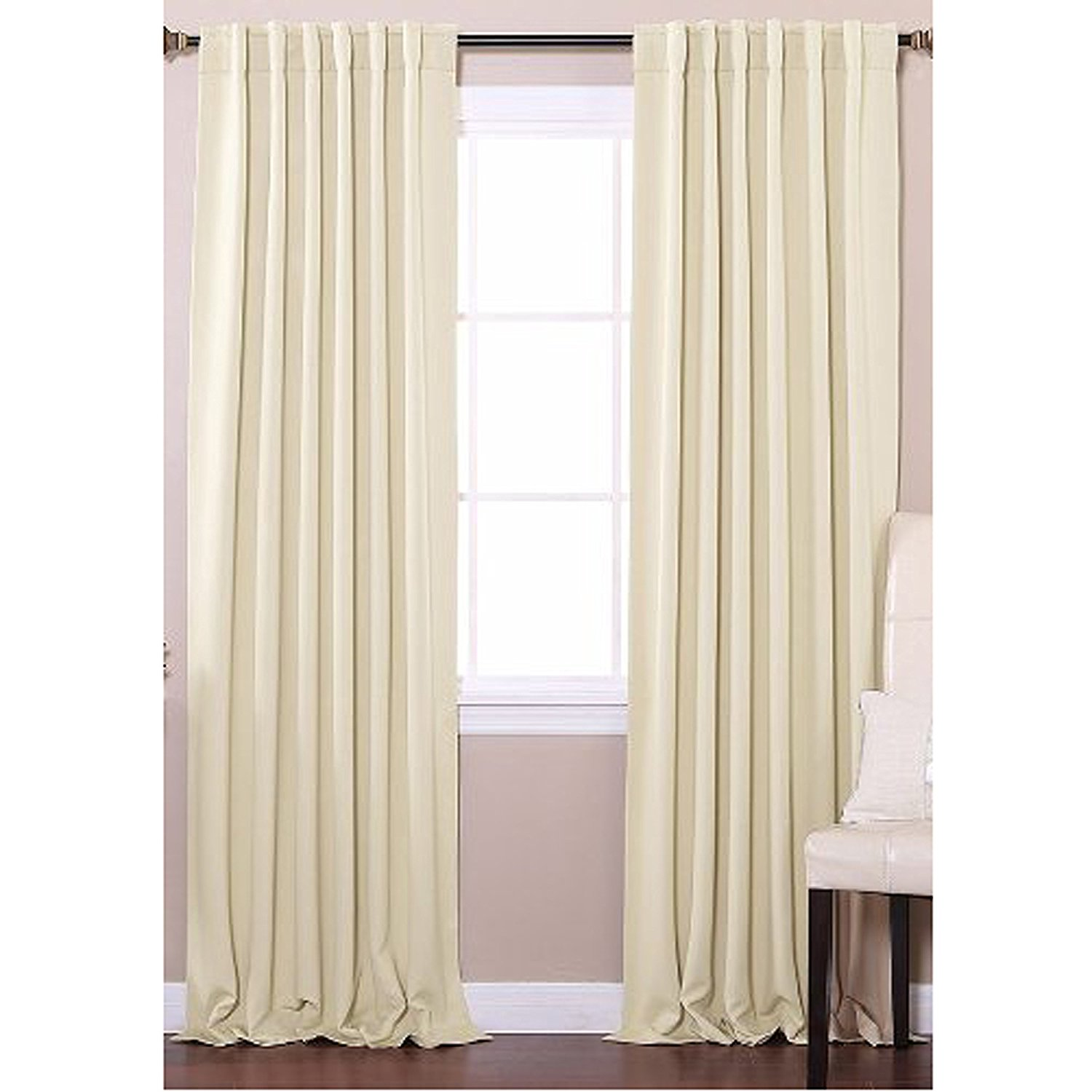 Solid Thermal Insulated Blackout Curtain Panel Set, 52-inch x 84-inch, Beige
