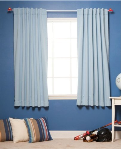 Blue Color 52 x 63 Solid Thermal Insulated Blackout Curtain