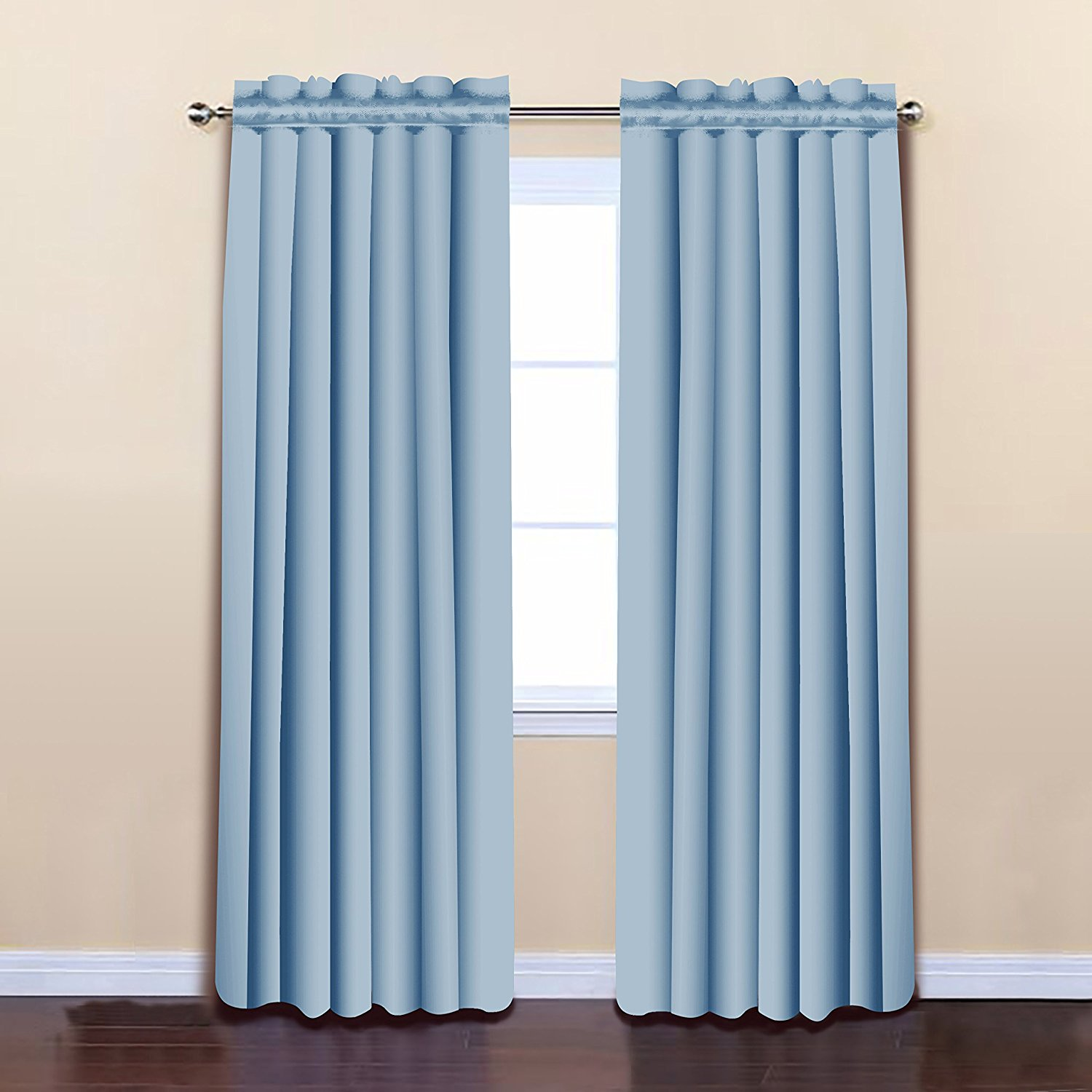 Blue Color 52 x 84 Solid Thermal Insulated Blackout Curtain