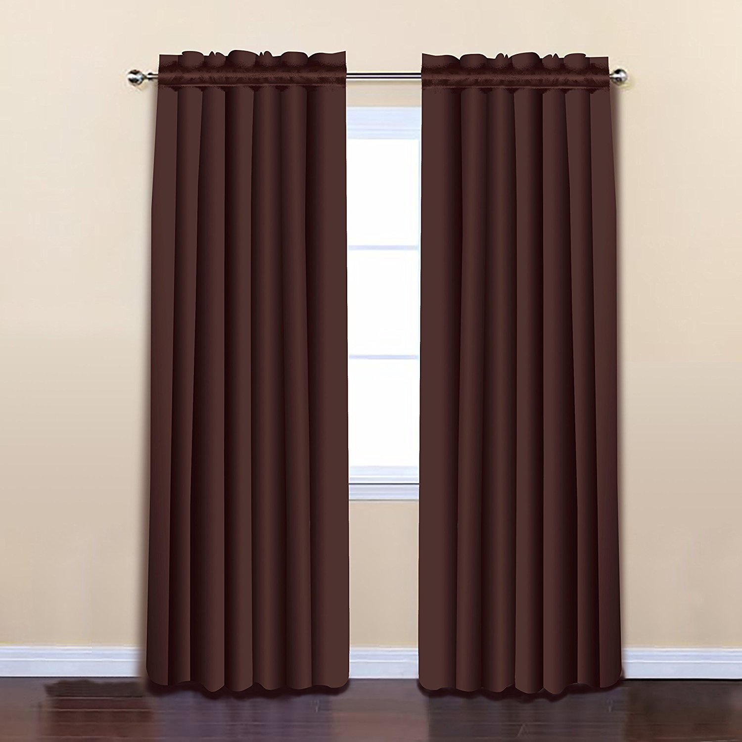 Brick Color 52 x 84 Solid Thermal Insulated Blackout Curtain