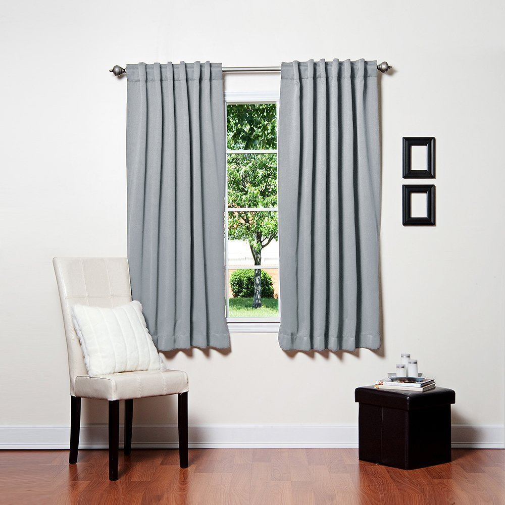 Light Grey Color 52 x 63 Solid Thermal Insulated Blackout Curtain