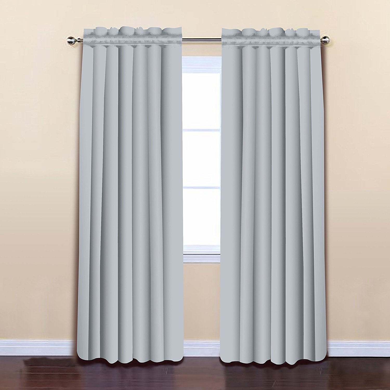 Light Grey Color 52 x 84 Solid Thermal Insulated Blackout Curtain