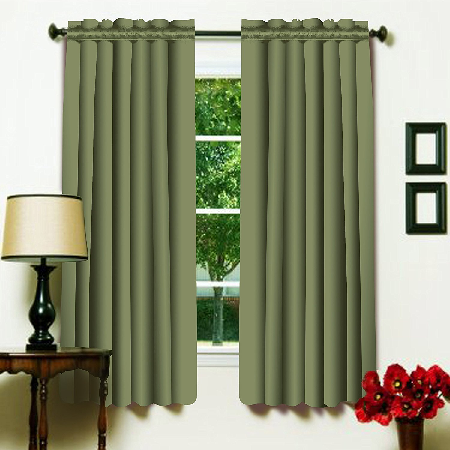 Olive Color 52 x 63 Solid Thermal Insulated Blackout Curtain