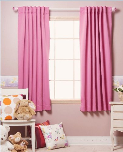 52 x 63 Solid Thermal Insulated Blackout Curtain Panel Set (Pink)