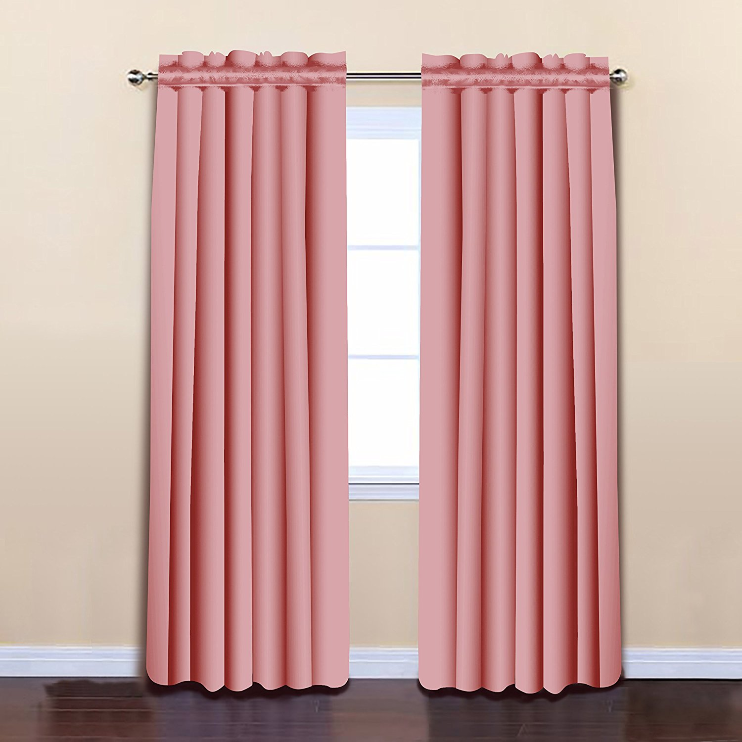 Pink Color 52 x 84 Solid Thermal Insulated Blackout Curtain