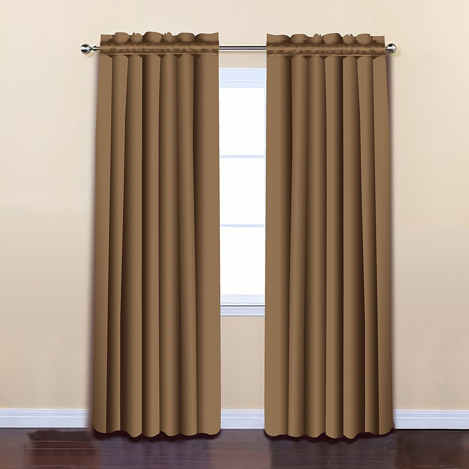 Wheat Color 52 x 84 Solid Thermal Insulated Blackout Curtain