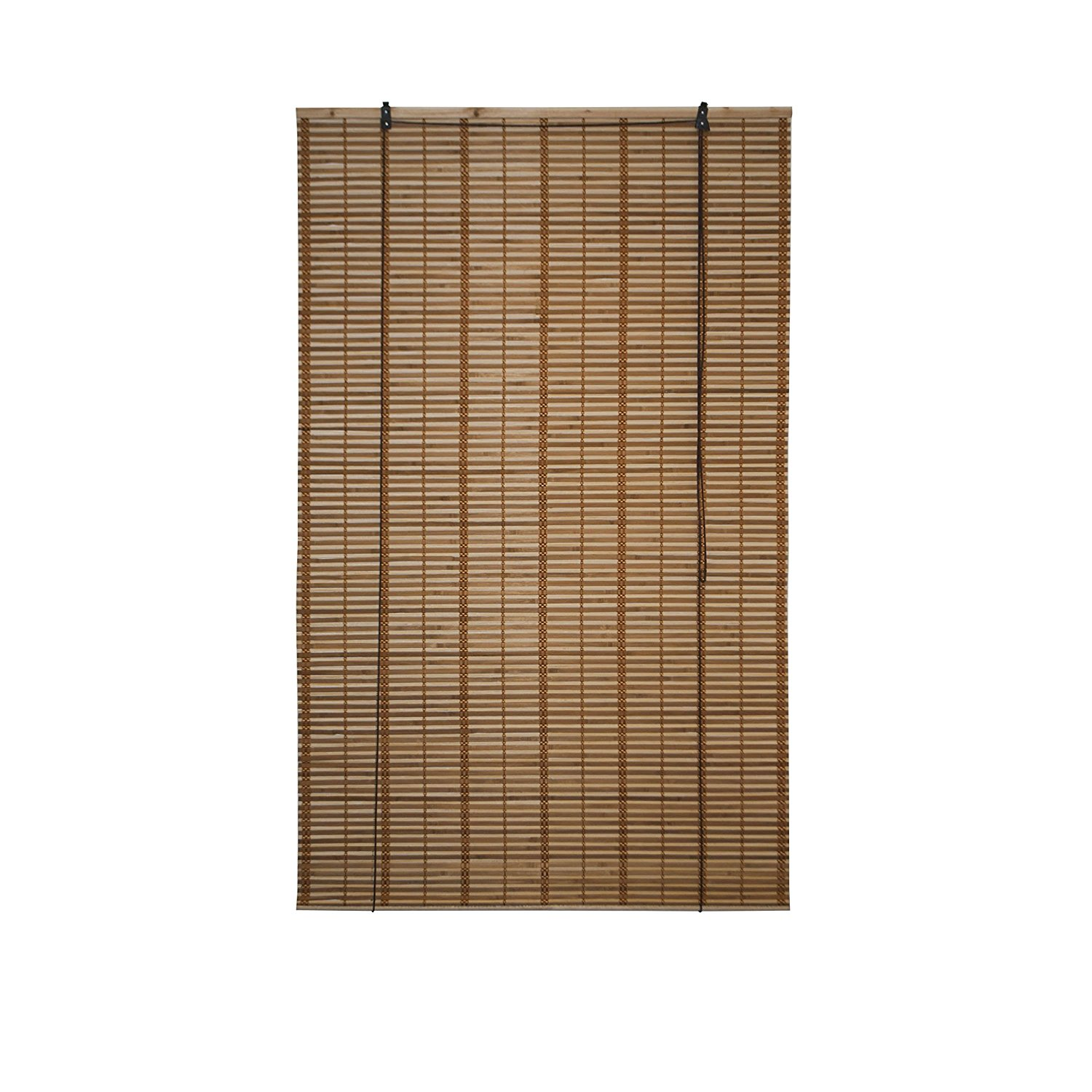 Light Brown Bamboo Midollino Wooden Roll Up Blinds Light Filtering Shades 39X64