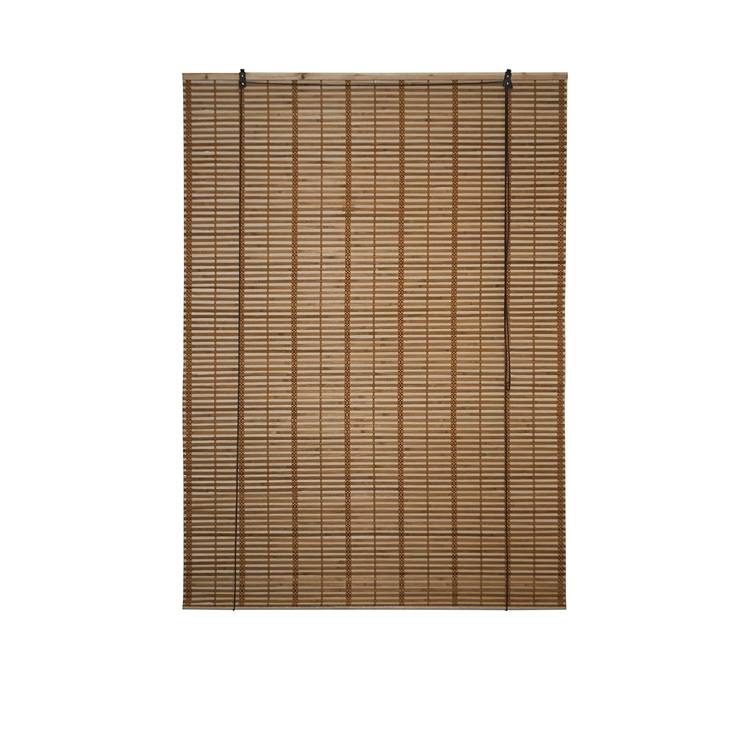 Light Brown Bamboo Midollino Wooden Roll Up Blinds Light Filtering Shades 46X64