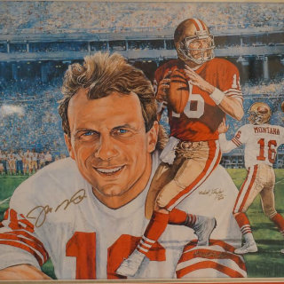 Sf Quarterback Joe Montana Hand Signed Lithograph