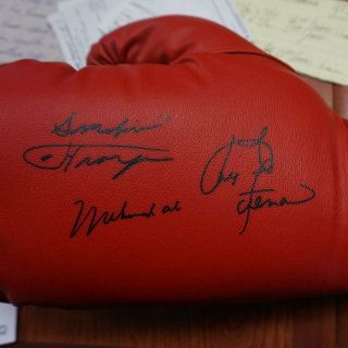 Boxing Glove Signed by Three Great Boxers