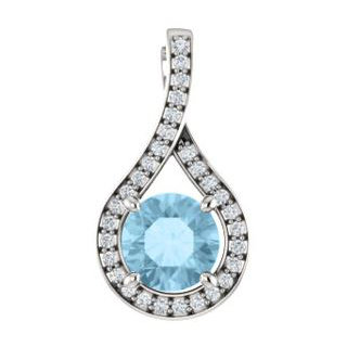 14K White Aquamarine & .08 CTW Diamond Pendant