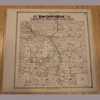 1907 RARE Detailed Map of Kirkland and Woodinville AUTHENTIC