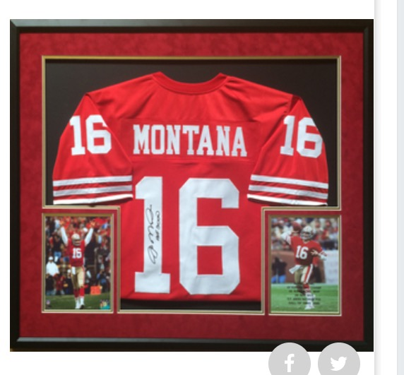 Signed and Framed Joe Montana Jersey