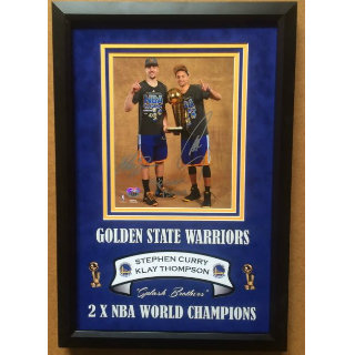 Stephen Curry/Klay Thompson Warriors Hand-Signed Commemorative w-Deluxe Matting