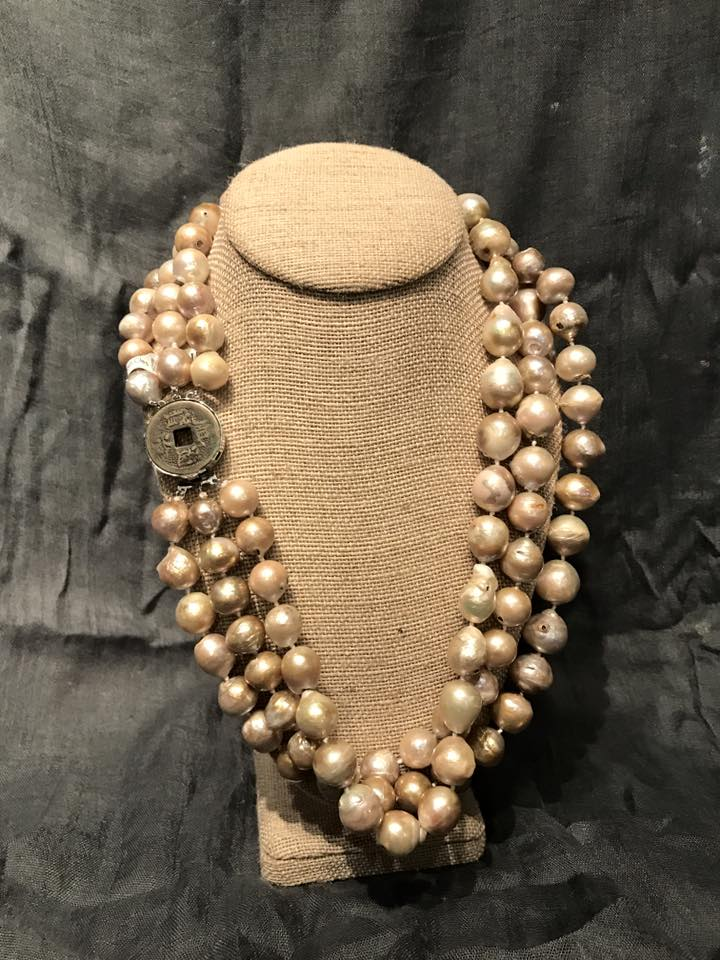 Pink Baroque Pearl & Coin Clasp Necklace