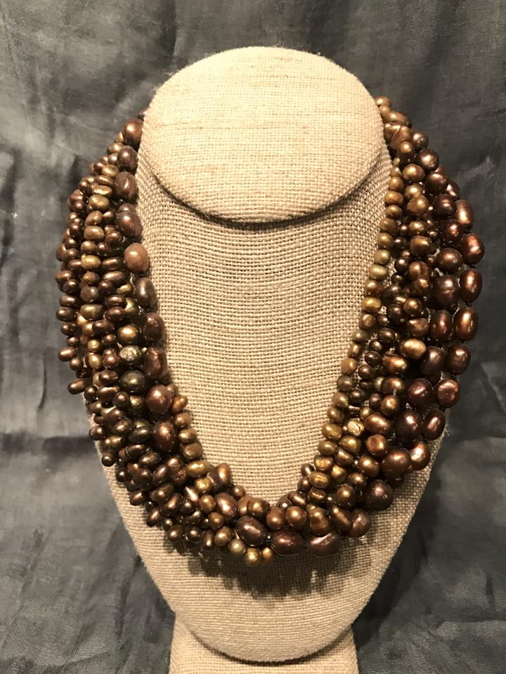 Brown Pearl Multi-Strand Necklace