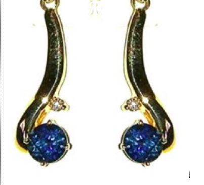 Gold Earrings with Sapphire & Diamond