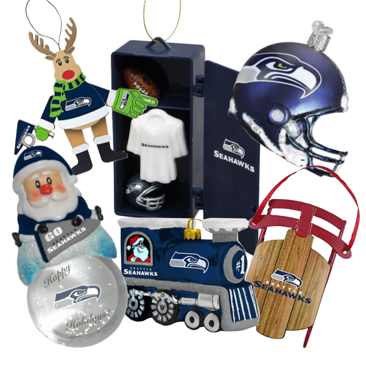 Seattle Seahawks Ornaments - 6 Pack