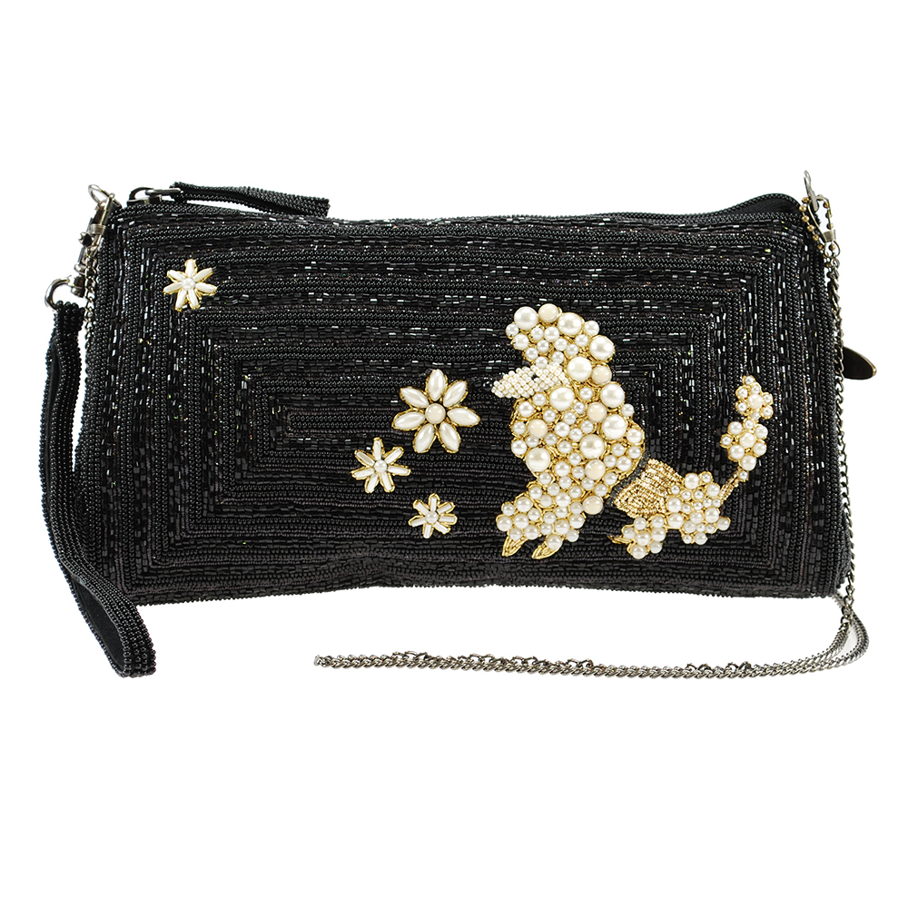 "Mary Frances ""Walk in the Park"" Beaded Poodle Wristlet Handbag"