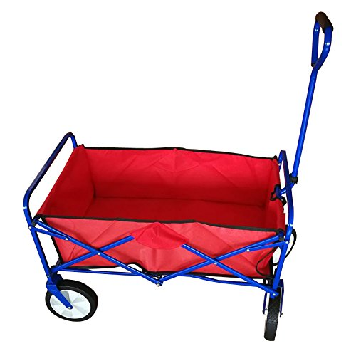 Multipurpose Folding Utility Wagon With Padded Handle, Red With Blue Frame