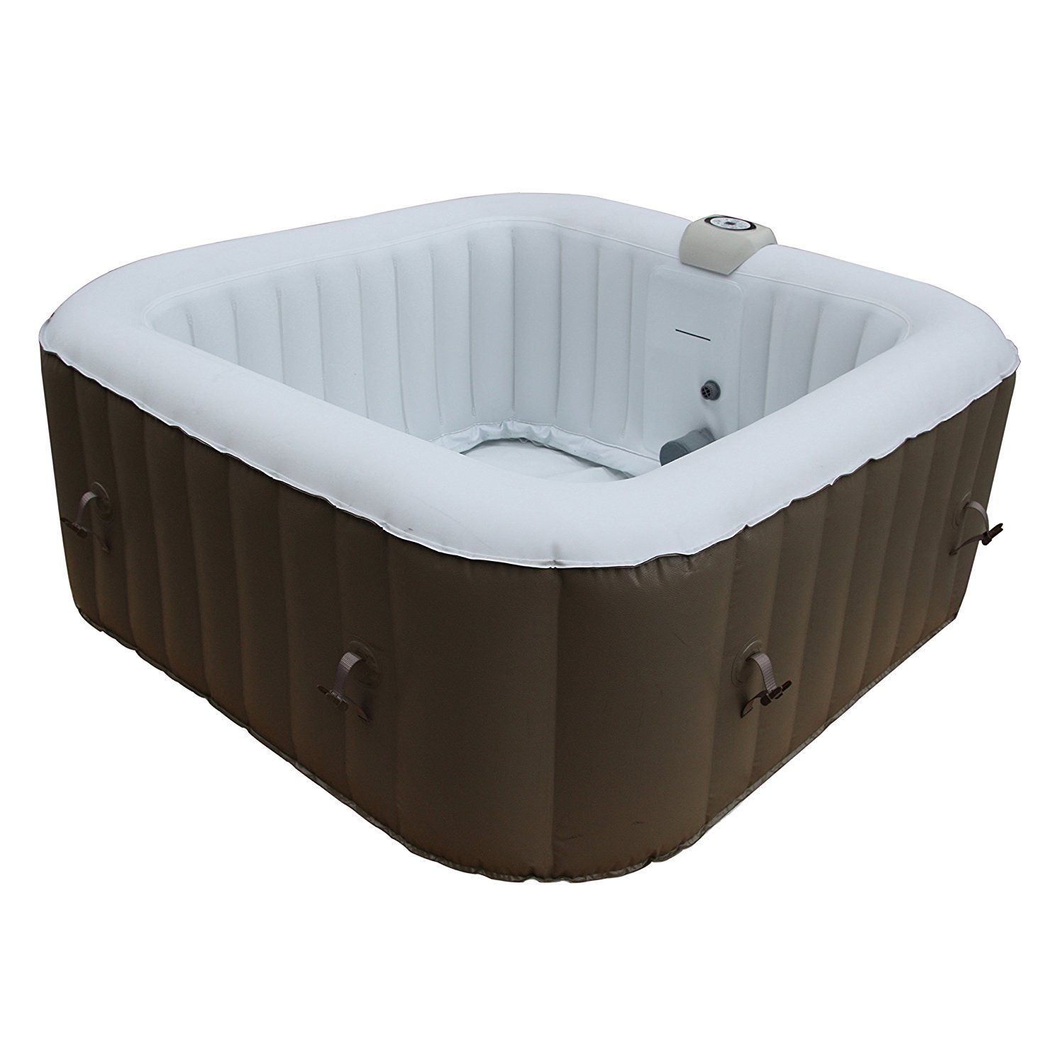 HTISQ4BR Square Inflatable Portable Hot Tub Personal Spa, 4 Person, 160 Gallon,