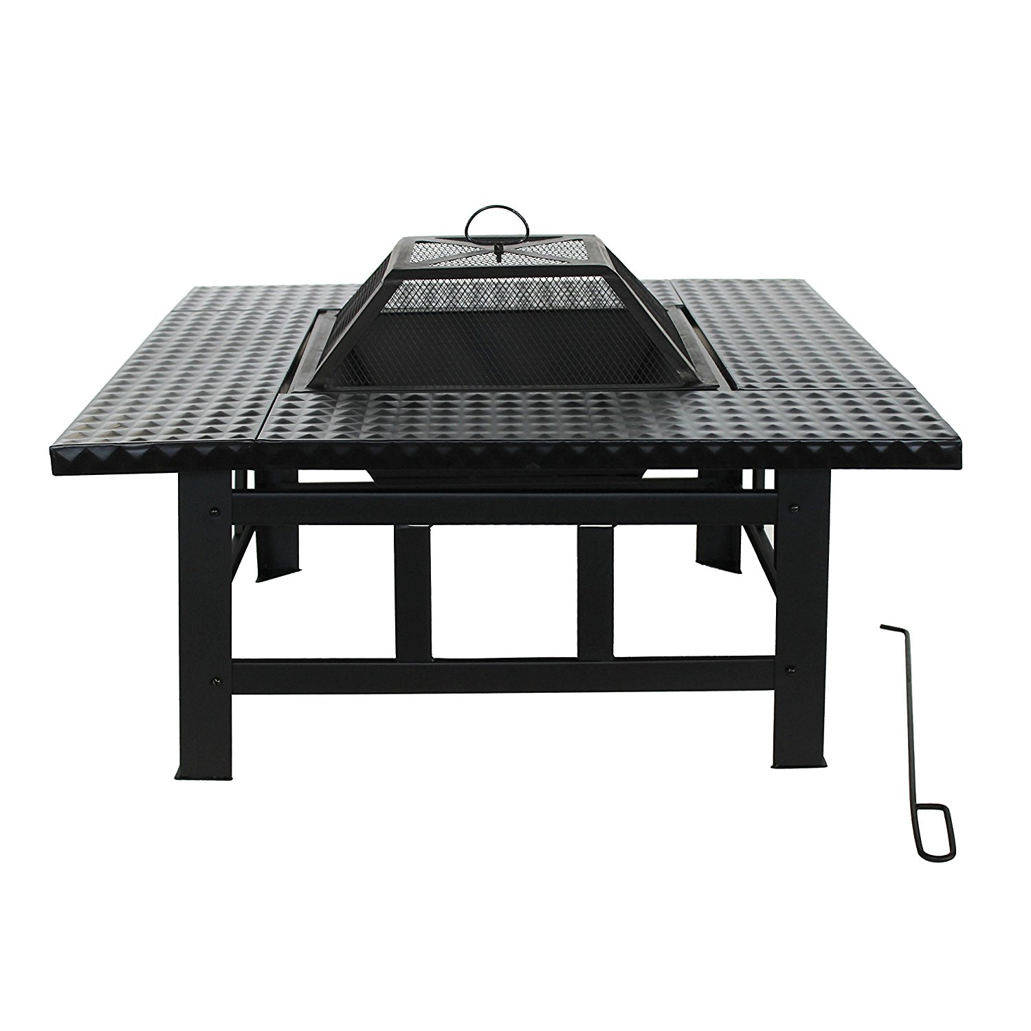 FP010 Heavy Duty Steel Table Top Fire Pit Kit with Flame Retardant Lid and Poker