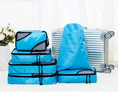 TRBG6BL 6 Piece Packing Cubes Travel Luggage Organizer Pouches Color Blue