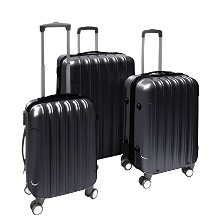 L3BLACK2GA 3 Piece Luggage Travel Bag Set ABS Suitcase With Lock, Black Color