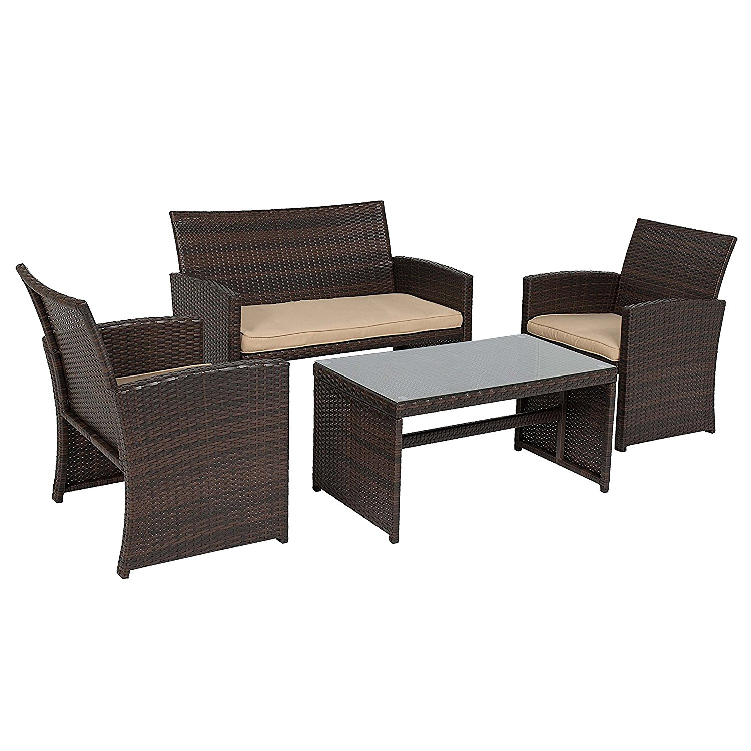Bizx Rf4br 4 Piece Wicker Rattan Outdoor Patio Furniture
