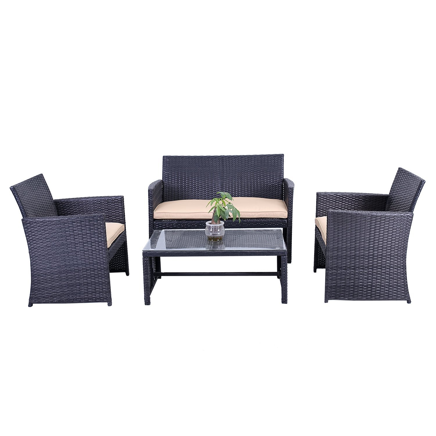 RTCRM07BLK Indoor Outdoor Seattle Rattan 4 Piece Patio Furniture