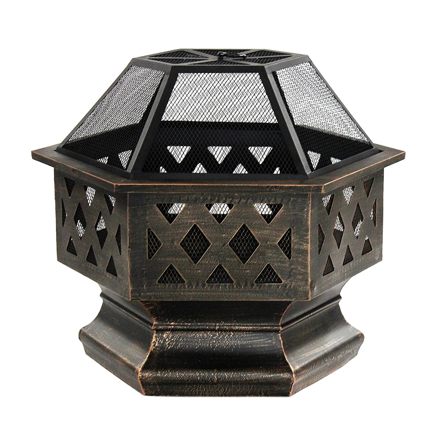 FP004 Hex Shaped Steel Backyard Patio Fire Pit Bowl - Distressed Bronze - 24 Inc
