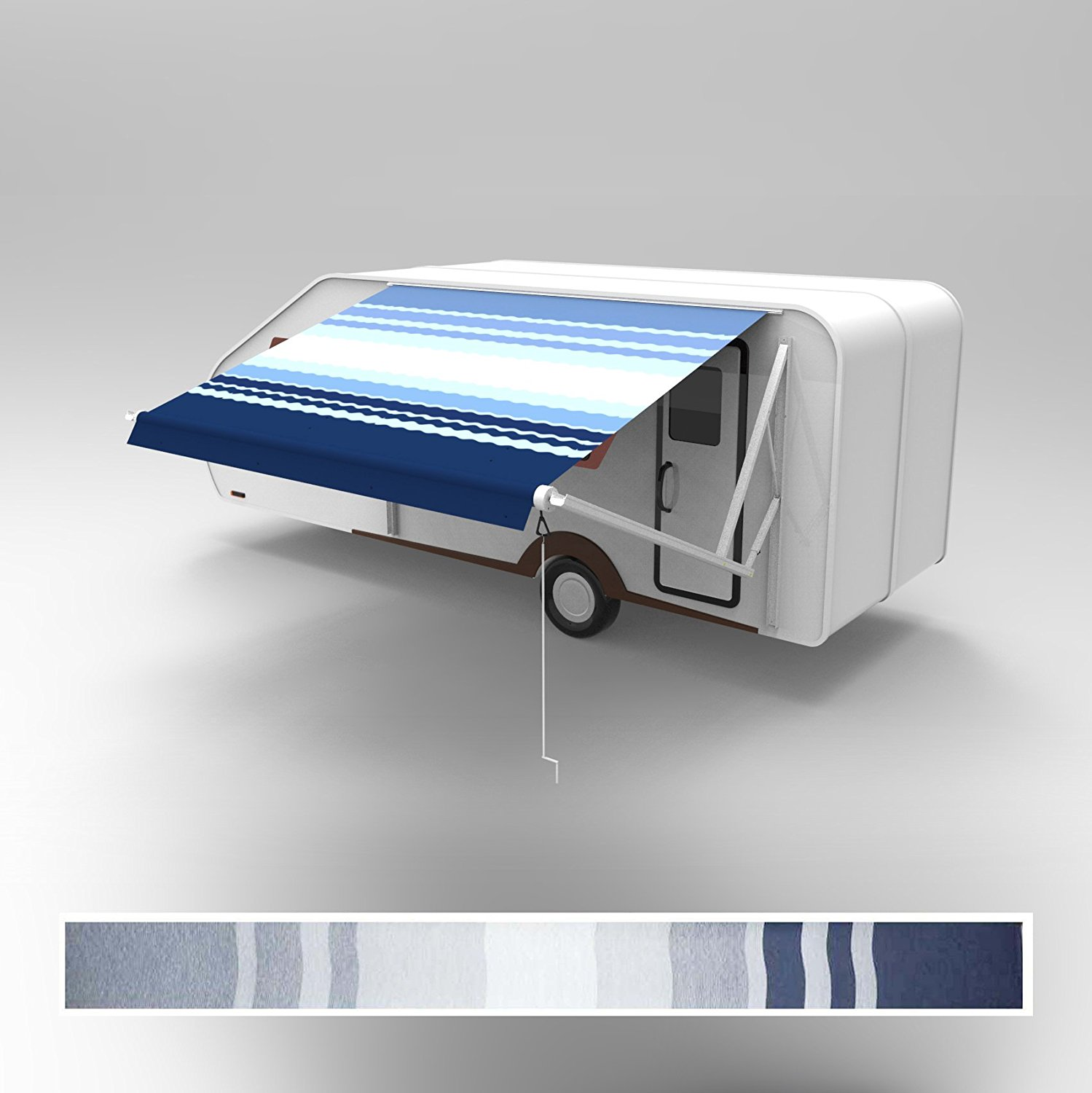 RVAWM8X8BLSTR32 Motorized Retractable RV/Patio Awning 8 x 8 Feet Blue and White