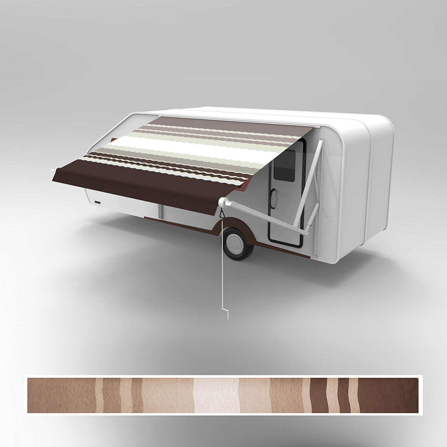 RVAWM20x8BRSTR34 Motorized Retractable RV/Patio Awning 20 x 8 Feet Brown and Whi