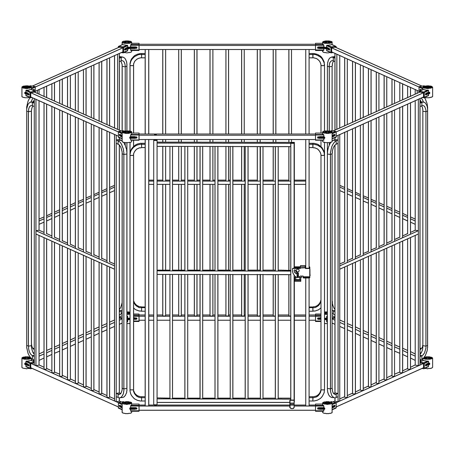 DK6P60 6 Panel Heavy Duty Modular Dog Playpen with Door Large Sized 28.5 x 42 In