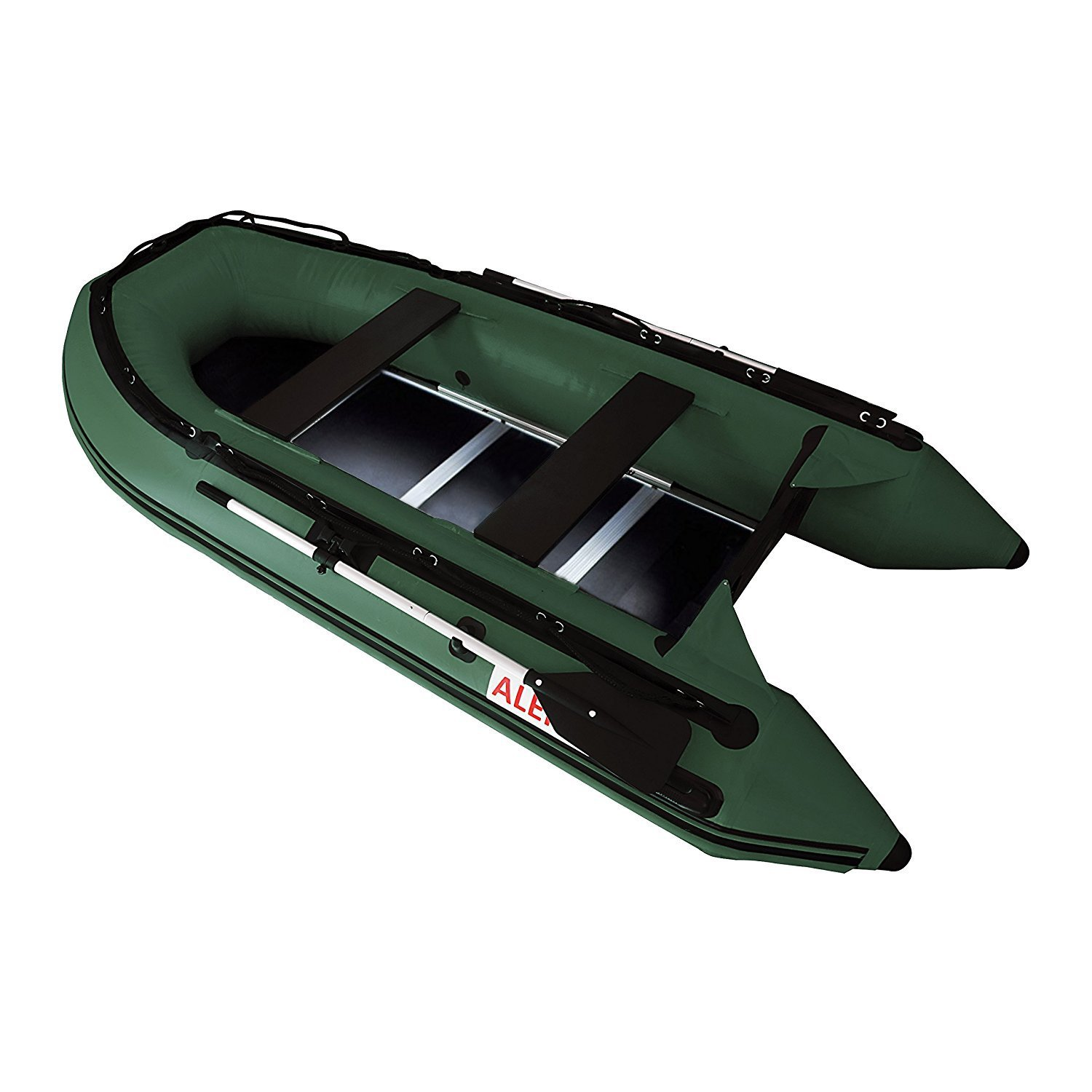 BTSDWD320GR 10.5 Foot Inflatable Boat with Pre-Installed Wood Deck