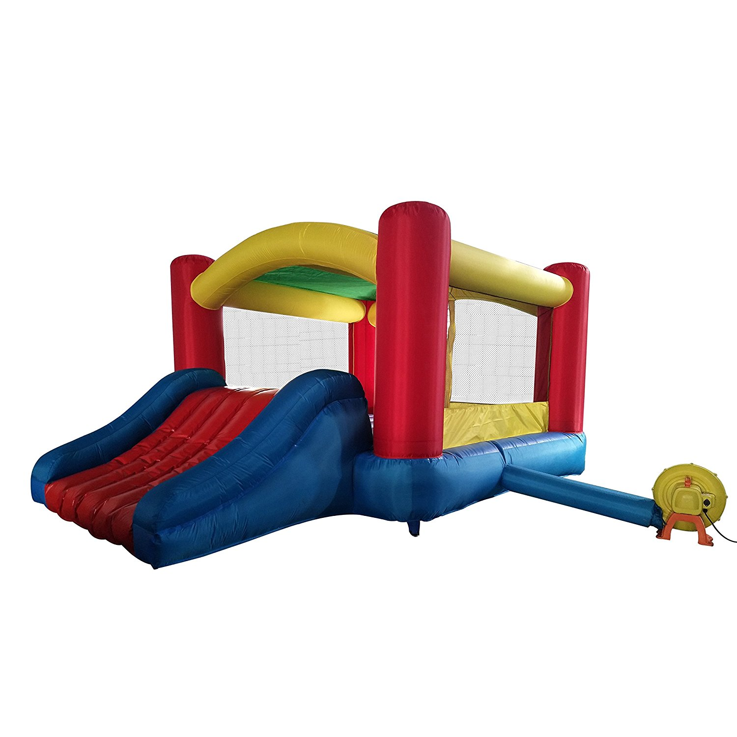 BHOUSE Inflatable Commercial Bounce House with Curved Slide and Blower